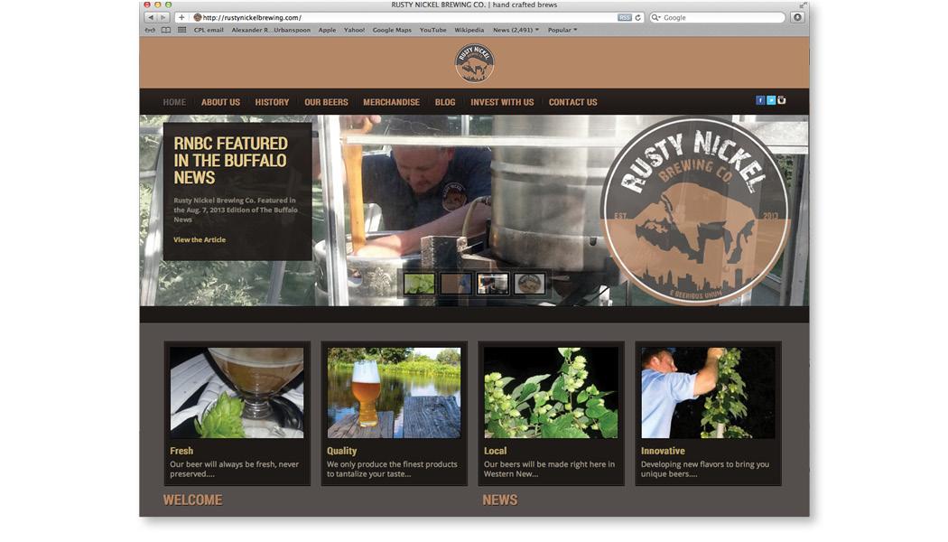 rusty nickel brewing co. website design