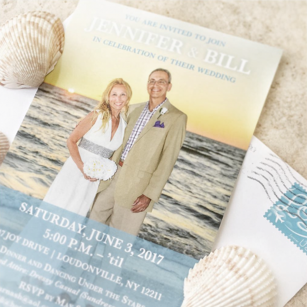 Blue Beach Wedding Invitation – Graphic Design