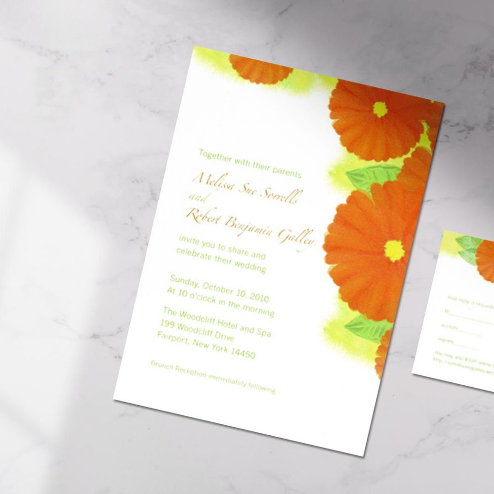 Gerbera Daisy Wedding Invitation – Graphic Design