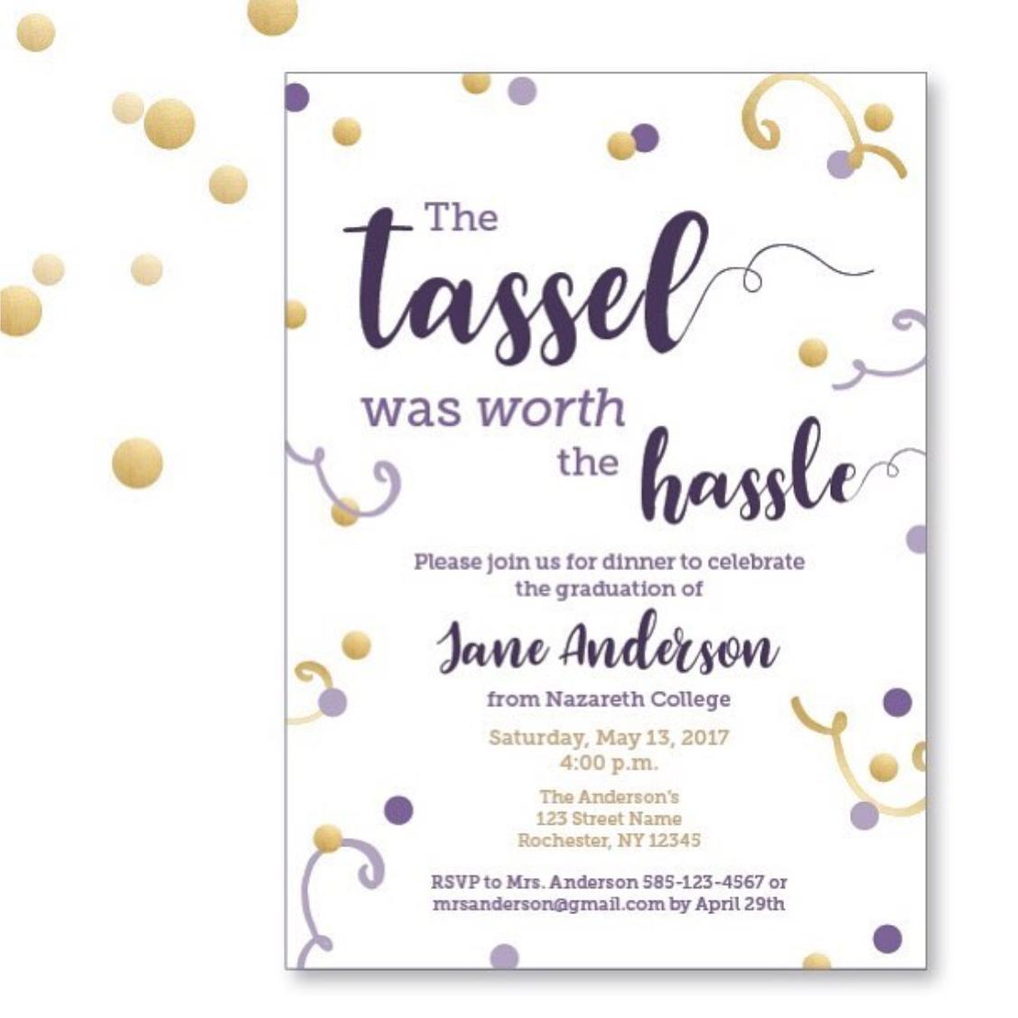 purple and gold graduation invitation