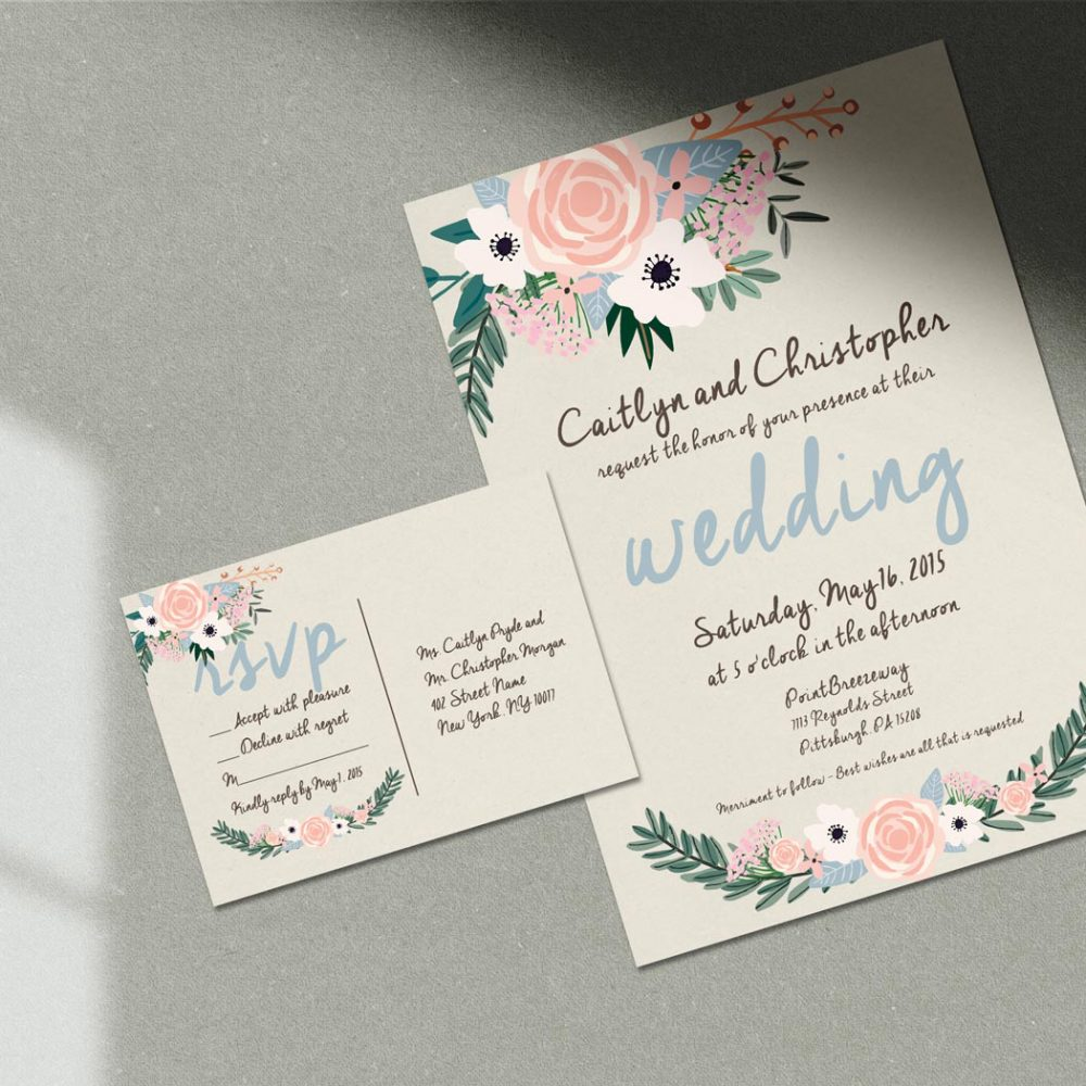 Rustic Flowers Wedding Invitation – Graphic Design