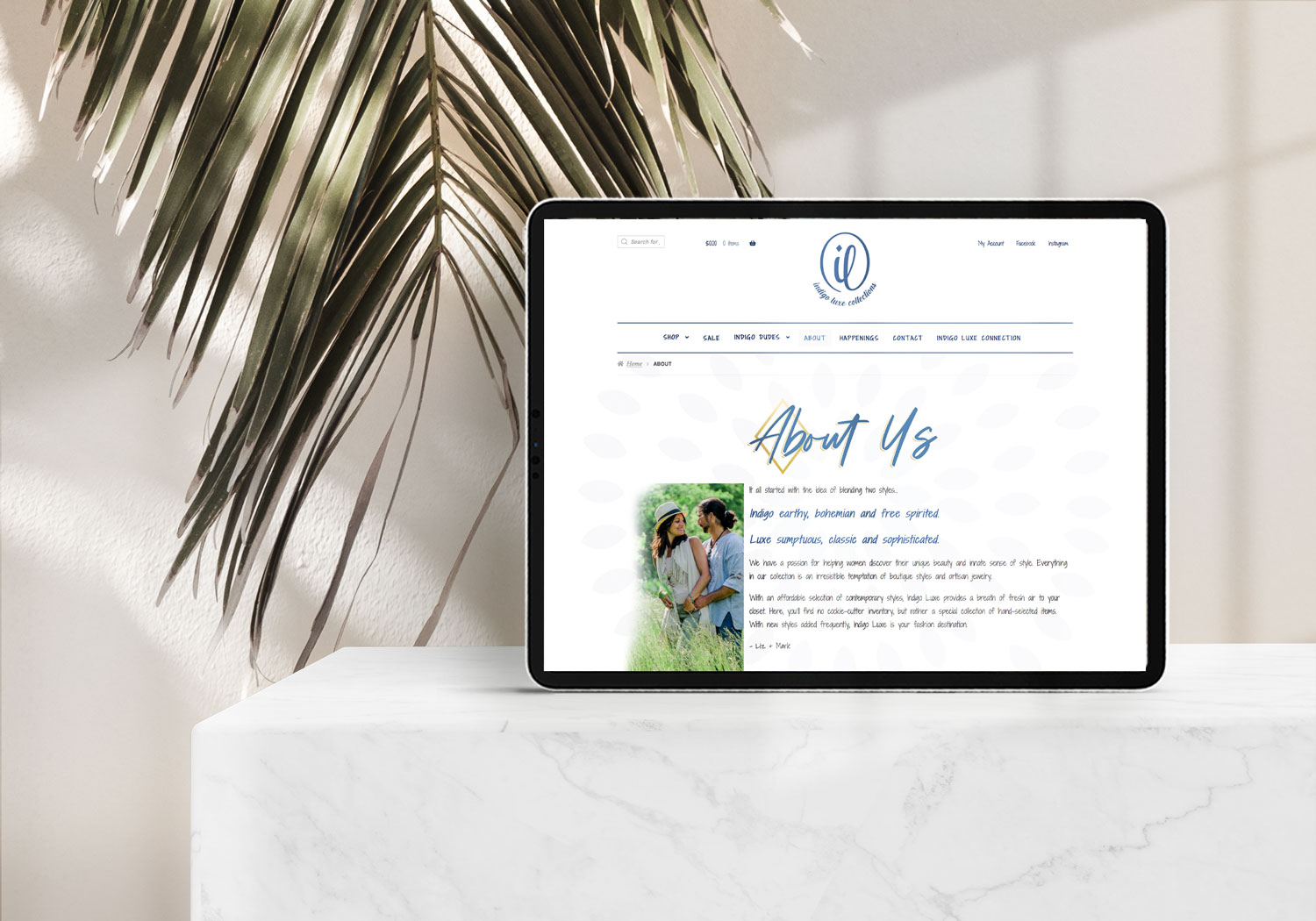 indigo luxe collections website design