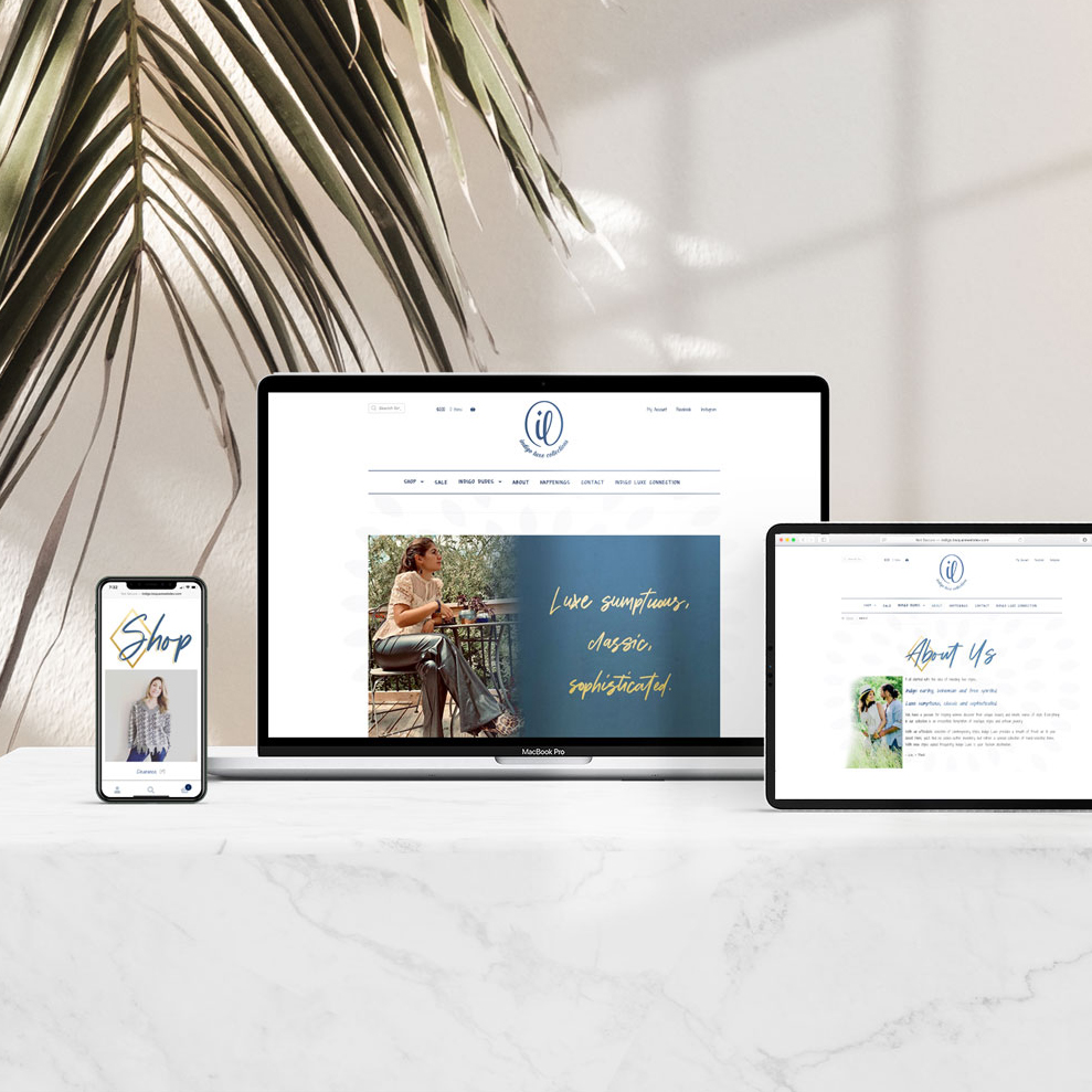 Indigo Luxe Collections – Website Design + Branding