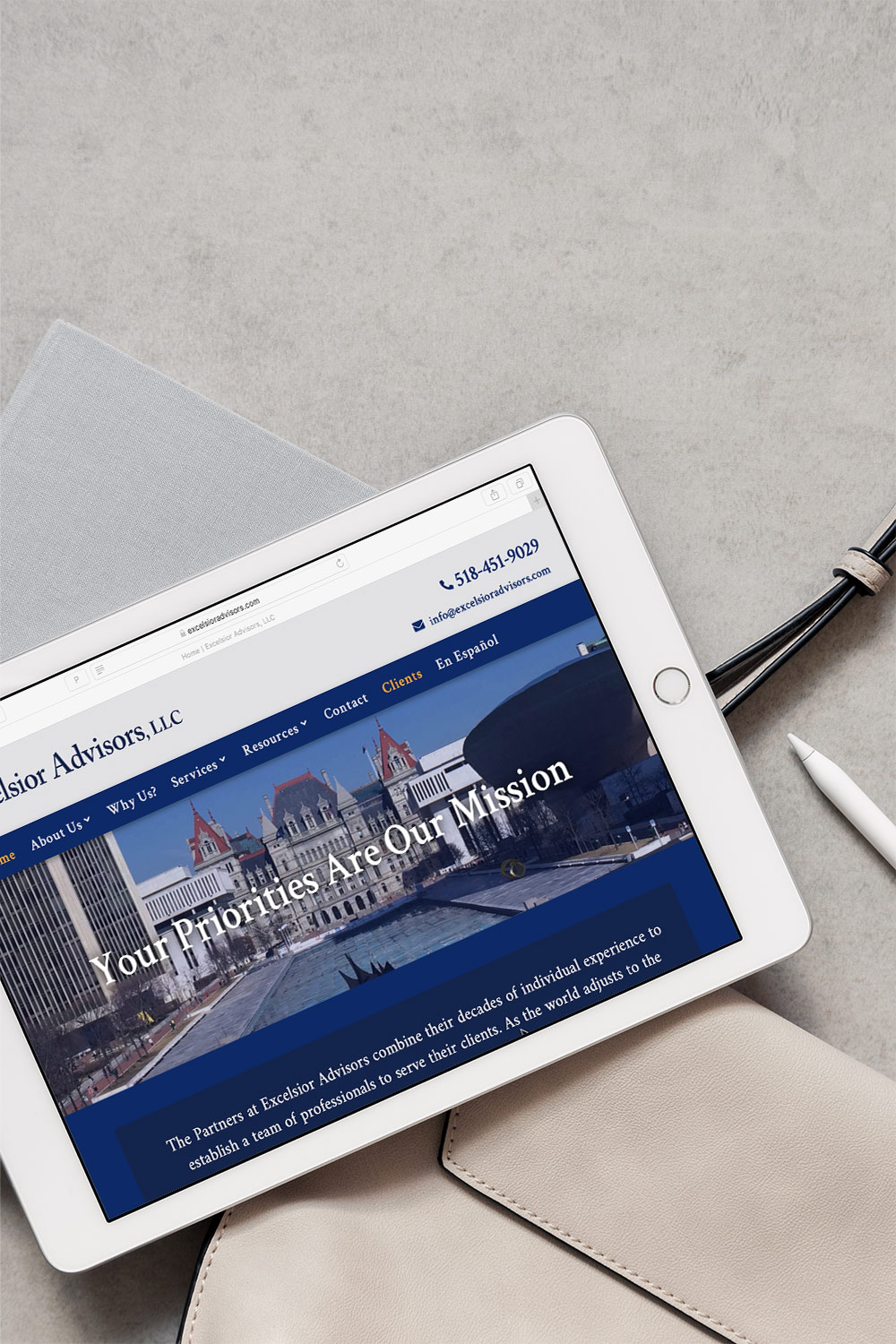 Excelsior Advisors Attorney New Website with blue on iPad